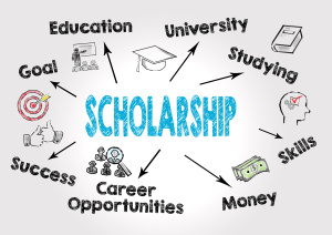 scholarship Concept. Chart with keywords and icons on gray background